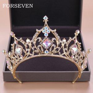 Barok Kristal Tiara Taç Gelin Saç Aksesuarları Renkli Kristal Taç gelinin Tiaras Düğün Başlığı Prenses Kraliçe Diadem J 190430