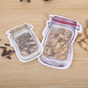 ميسون جرة شكل الغذاء حاوية reusable الإيكولوجية الصديقة وجبات خفيفة حقيبة PE آمنة سحابات أكياس تخزين أكياس تخزين البلاستيك رائحة برهان كليب LXL726Q
