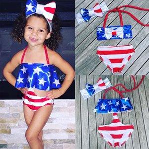 3PCS enfant en bas âge Bébés filles Une pièce Deux pièces Deux style Maillots de bain Stripe Ensemble bikini enfants maillot de bain Short bowknot