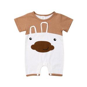 아기 소년 소녀를위한 공룡 / 곰 만화 Romper 여름 신생아 짧은 소매 인쇄 된 Jumpsuit Sunsuits 캐주얼 코튼 의류