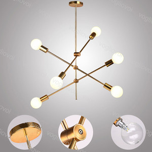 Modern Kolye Lambaları E27 110 V 220 V Sanat Dekor Oturma Odası Yemek Odası Için Altın Metal Hanglamp Luminaire Işık Fikstür DHL