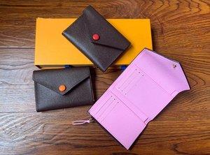 Neue Designer-Knopf Frauenmappen kurze weibliche Art und Weise null Geldbeutel europäischen Stil Dame lässig clutchs mit Box