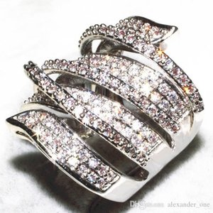 Vivid Finger Ring Unique Shaped 14k White Gold Filled CZ Diamond Full Paved Cocktail Rings for Womens wholesale Fashion jewellery