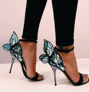 GUCCI Dior Chanel Givenchy UGG Louboutin Sophia webster Evangeline Engel-Flügel Sandalen weiblich Plus Size Euro 42 Schmetterling Strass Sandaletten Abschlussball-Partei-Pumpen
