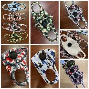 Yetişkin Kamuflaj Yüz Maskesi Buz Ipek Pamuk Anti-Toz Ağız Maskesi Yıkanabilir Kullanımlık Camo Yüz Maskeleri Vana ZZA2421