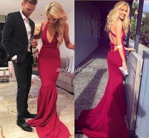 Dark Red Criss Cross Straps Prom Dresses 2019 Scollo a V Backless Sweep Train Abiti da sera sexy del partito abiti da ballo Occasioni speciali Dress