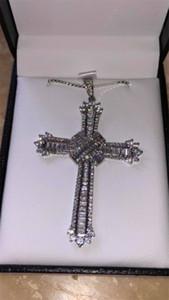 Vintage Longo Cruz pingente de colar de prata esterlina 925 5A zircão Cz Partido casamento Cruz Pingente para mulheres dos homens de Jóias de Luxo