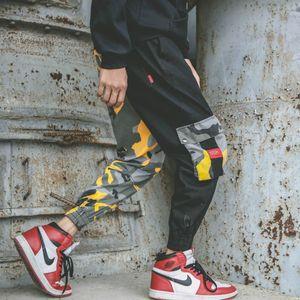 ZK Camo Cargo Mens Pantalon Muti Poches Pantalon Hip Hop Casual Streetwear Camouflage Pantalon Lâche Tricot Running Patchwork Rokit