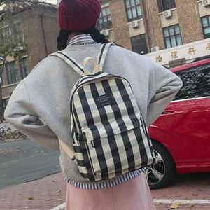 Lucky2019 hombros Tanto Mochila invierno lienzo enrejado del viaje raya estudiante Una bolsa de ordenador hombres y de mujeres de marea