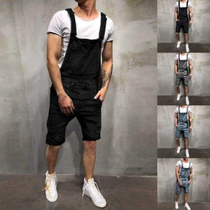 2020 Summer Fashion Men's Ripped Jeans Jumpsuits Shorts Street Style Distressed Denim Bib Overalls Mens Casual Suspender Pant