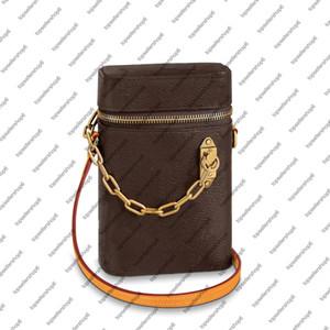 M44914 M61112 Bolso telefónico Bolsa de lona Strap ajustable Diseñador de cuero de becerro genuino Mini Cadena de oro Bolsa de hombro Monedero
