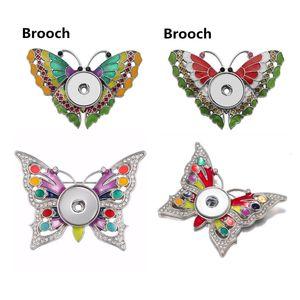 Pulsanti 18 millimetri Snap Spilla smalto arcobaleno farfalla spilla pin Nizza Donne Noosa Chunks gioielli stili Mix
