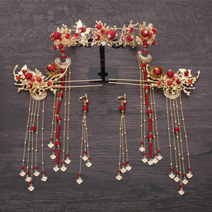 Chinese New Fashion Phoenix Beads Hairpins Earrings Crown Coronet Sets Brides Hair Decoration Bijoux Wedding Hair Accessories J190703
