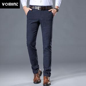 Pantaloni casuali elastici VOMINT uomini di qualità 2019 nuovo di alta della Mens di vestito da affari Slim Jogger Lungo tratto pantaloni maschile Suit PantsMX190902