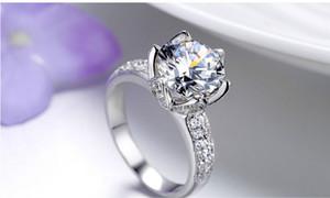 1ct свадьба синтетический бриллиантовое кольцо для женщин цветок лотоса двойной микро проложили параметры участия твердое серебро белое золото покрытием кольцо