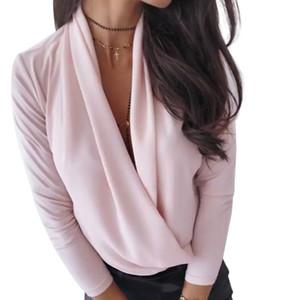 2020 Adatti a nuovo delle donne V-Collo Sleeve Camicette drappeggiato sottile lunga Camicie Office Lady Camicie Solid Primavera Autunno Top Female
