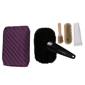 5 in 1 tragbare Schuhe Glanzpolitur Reinigungs-Set Kit In Travel Case Tasche Lila