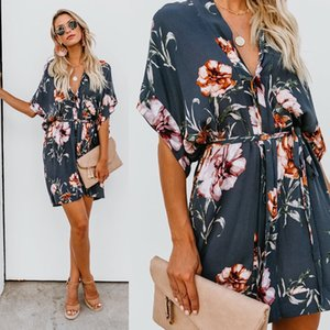 2019 Fashion Women's Dresses New Summer Panelled Dress with Floral Print Pattern for Women Casual Loose V-neck Sexy Lady's Clothing S-X