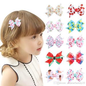 Новорожденных девочек Заколки для волос Фруктовое Мороженое Печатные Ins Лук Заколки для волос Бантом Вишня Фламинго Симпатичные Заколки 10 Цветов