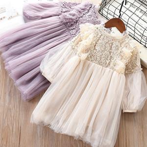 Оптовая продажа девушка кружевное платье фонарь рукав весна осень дети платье принцессы с жемчугом Детская одежда E19013