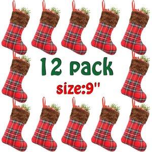 Buffalo Stocking Gefüllte Weihnachtssocken Plaid Weihnachten Socken Süßigkeit-Geschenk-Beutel Plaid Plüsch Weihnachtsstrümpfe Weihnachtsdekorationen neue GGA2770