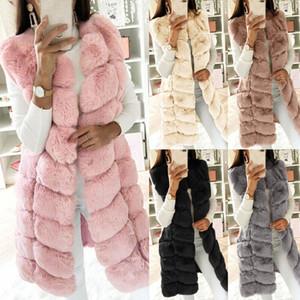 2020New Женщины Длинные пальто зимы женщин искусственного меха жилет без рукавов Gilet Жилет тела Теплее пальто куртки и пиджаки Горячая для женщин