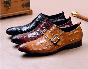 Designer Men Italian Dress Shoes Genuine Leather Handmade Men Monk Shoe Office Formal Wedding Party Mens Oxford Shoes