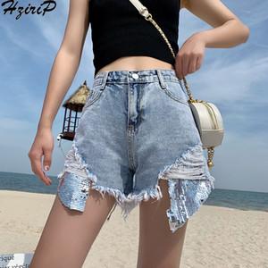 HziriP New 2019 Summer Shorts Korean Sweet Vintage Loose Hole Sequined Women Slim Solid Wild Jeans Female High Waist Fashion