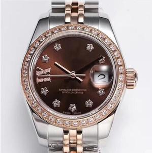 Luxury top 3-pin chronograph calendar women's watch diameter 28mm diary series natural mother-of-pearl diamond-set automatic mechanical ladi