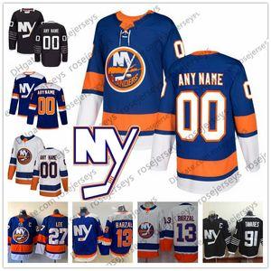 Нью Йорк Айлендерс Синий Третий Джерси 2019 Белый 16 Эндрю Лэдд 29 Брок Нельсон 40 Робин Ленер 55 Джонни Бойчук