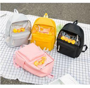Bonito moda Duck Backpack 2020 Mulheres Mochila transparente Children School Girl Mochila Adolescente Feminino Bagpack Backbag