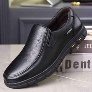 LIMEIKE Men Casual Shoes Genuine Leather Elastic Band Shoes Comfortable Anti-slip Mens loafes Flats Black brown Snea