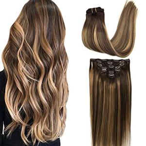 Real Clipe extensões de cabelo em Ombre Hair Extensions Preto Natural para sujo Ash Loiro extensões capilares naturais de seda reta