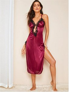 Deep V Neck Lace Split Dresses Spaghetti Strap Night Dresses Hollow Out Sexy Harness Pajamas Slim