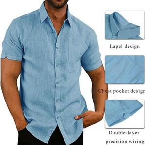 Estate Mens progettista delle camice alla moda Solid Camicie maniche corte di colore risvolto del collo camice casuali Street Style Mens