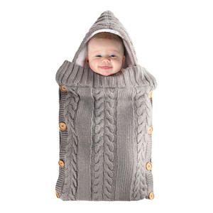 Wool Knit Newborn Baby Warm Sleeping Bag Winter Autumn Baby Boy Girl Swaddle Toddler Blanket Infant Button Thick Quilt