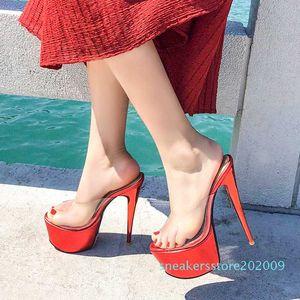 HaoshenGirl 2020 à talons hauts chaussons d'été Femmes Sandales Sexy Peep toes plateforme Mesdames Stiletto Chaussures Femme Taille 33-50