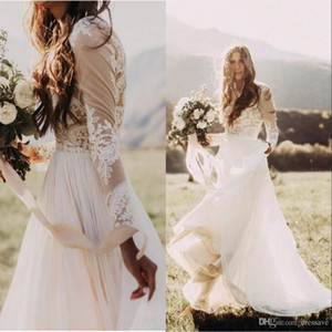 Vestidos de novia de país bohemio con mangas largas transparentes Cuello bateau Una línea de apliques de encaje Chifón Boho Vestidos de novia baratos