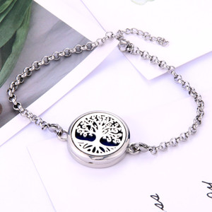 New High Quality Perfume Essential Oil Diffuser Locket Bracelet Stainless Steel Bangle Magnetic for Women Bracelet