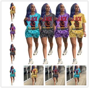 S-XXL Лето Женщины Tie-Dye Письмо Printed Tracksuit с коротким рукавом Top Тис + шорты Двухсекционный Set Женская мода Нижнее спортивный костюм D52504LY