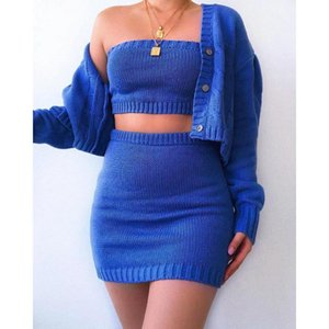 Mulheres malha 3 Pieces Sets Long Sleeve Cardigan Sweater Strapless culturas Conjuntos Top cintura alta Bodycon saia