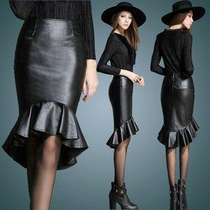 2020 Primavera New Fashion Customize Mulheres Plus Size 3XS-10XL Preto / Vinho Tinto saia de couro Ladies Alta Baixa Mermaid Fishtail Saias