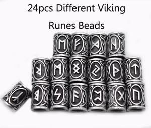24pcs de plata superior nórdica de Viking Runes Charmsbeads Los resultados para las pulseras para el colgante del collar de la barba o kits runa Vikings Cabello