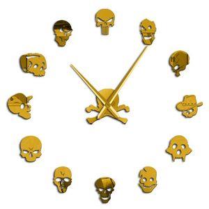 Verschiedene Schädel Köpfe DIY Horror Wall Art Riesen-Wanduhr Big Needle Frameless Zombie-Köpfe Große Wand-Uhr-Halloween-Dekor