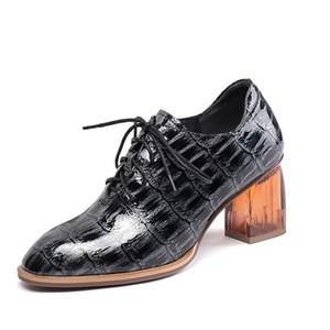 Autumn Retro Women Genuine Leather High Heels Shoes Woman Square Head Vintage Comfort Office Pumps Ladies Shoes Woman