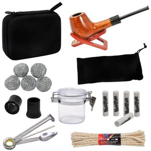 HONEYPUFF Tobacco Bag Set Wood Tobacco Pipe + Smoking Pipes Cleaning Tools + Carbon Pipe Filters + Glass Stash Jar For Herb