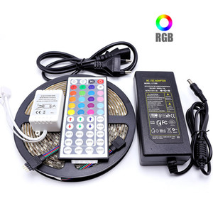 5050 5M 10M IP20 IP65 RGB LED Streifen-Licht LED-Licht RGB-LED-Band Led Ribbon Flexible Mini IR-Controller DC12V Adapter Set