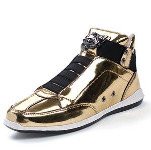 2019 Hot Sale Korean trendy fashion designer s shoes silver gold black shiny bright Mr. stylish red carpet preferred quality shoes