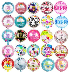 1Pc 18 Inch Happy Birthday Foil Balloons Children Birthday Butterfly Flower Pattern Helium Foil Balloons for Kids Party Supplies