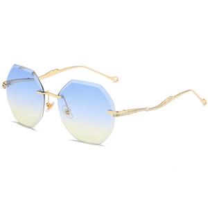 Солнцезащитные очки без оправы 2020 мода новые женские полигональные ins net Red Street Photo anti UV солнцезащитные очки модный бутик Алмазная отделка подробнее dec